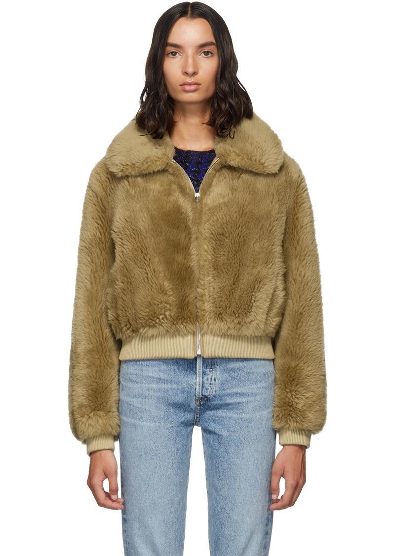 Yves Salomon Brown Wool Flap Collar Jacket