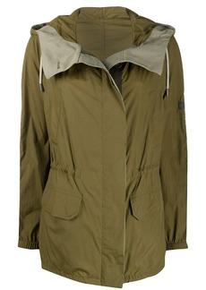 Yves Salomon colour block hooded rain coat
