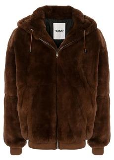 Yves Salomon fantasy fur hooded jacket