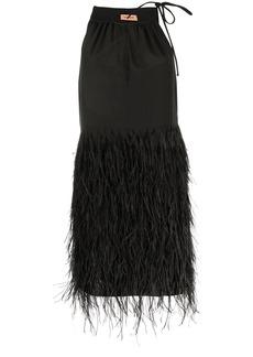 Yves Salomon feathered mini dress