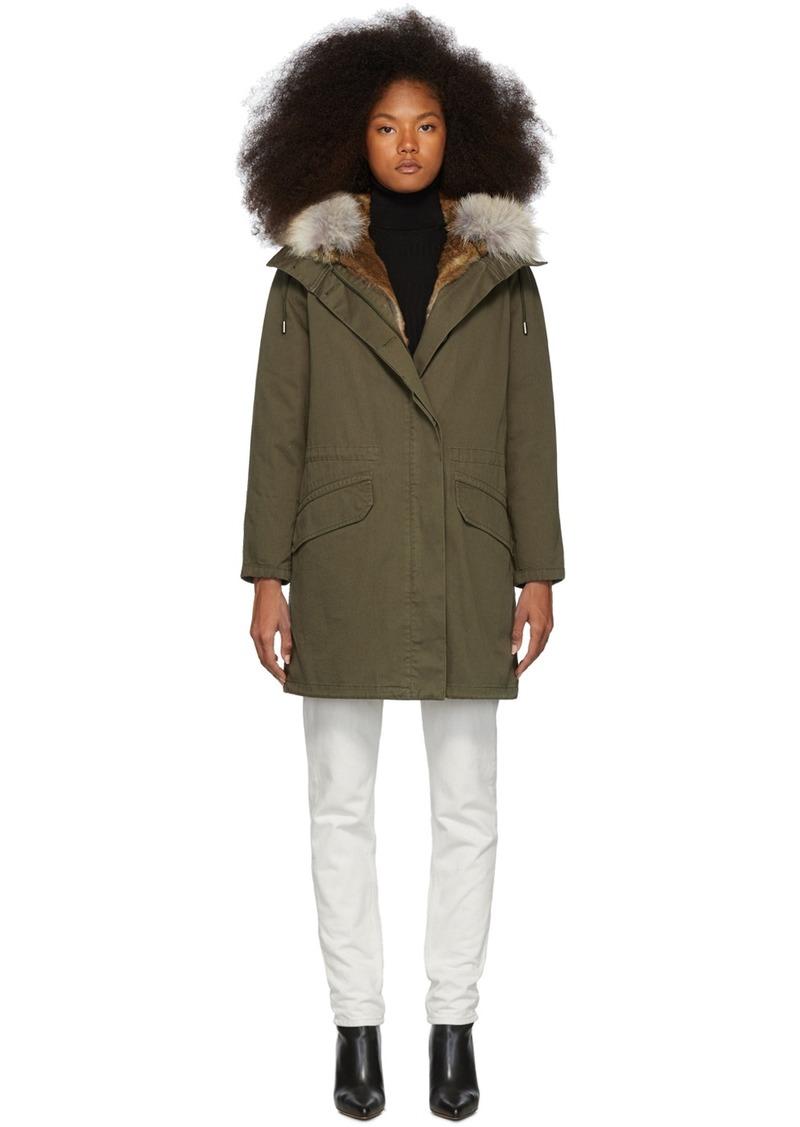 Yves Salomon Green Down & Fur Cotton Parka