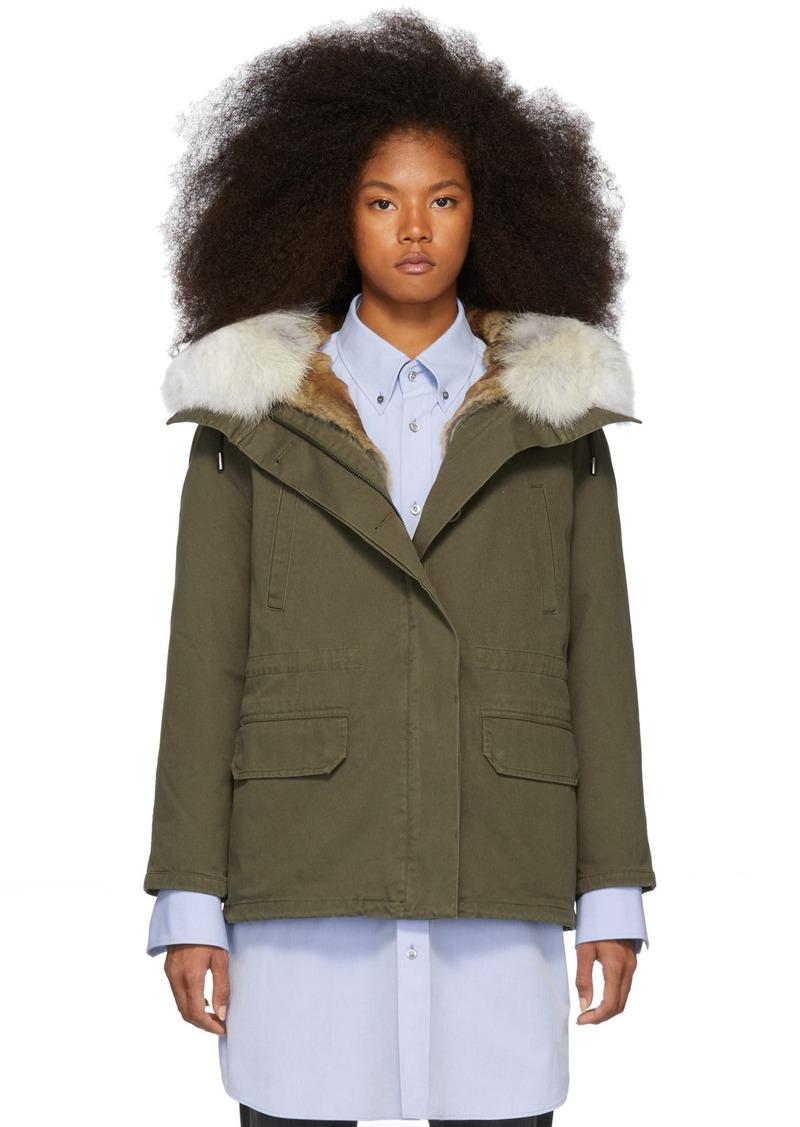 Yves Salomon Green Down & Fur Cotton Short Parka