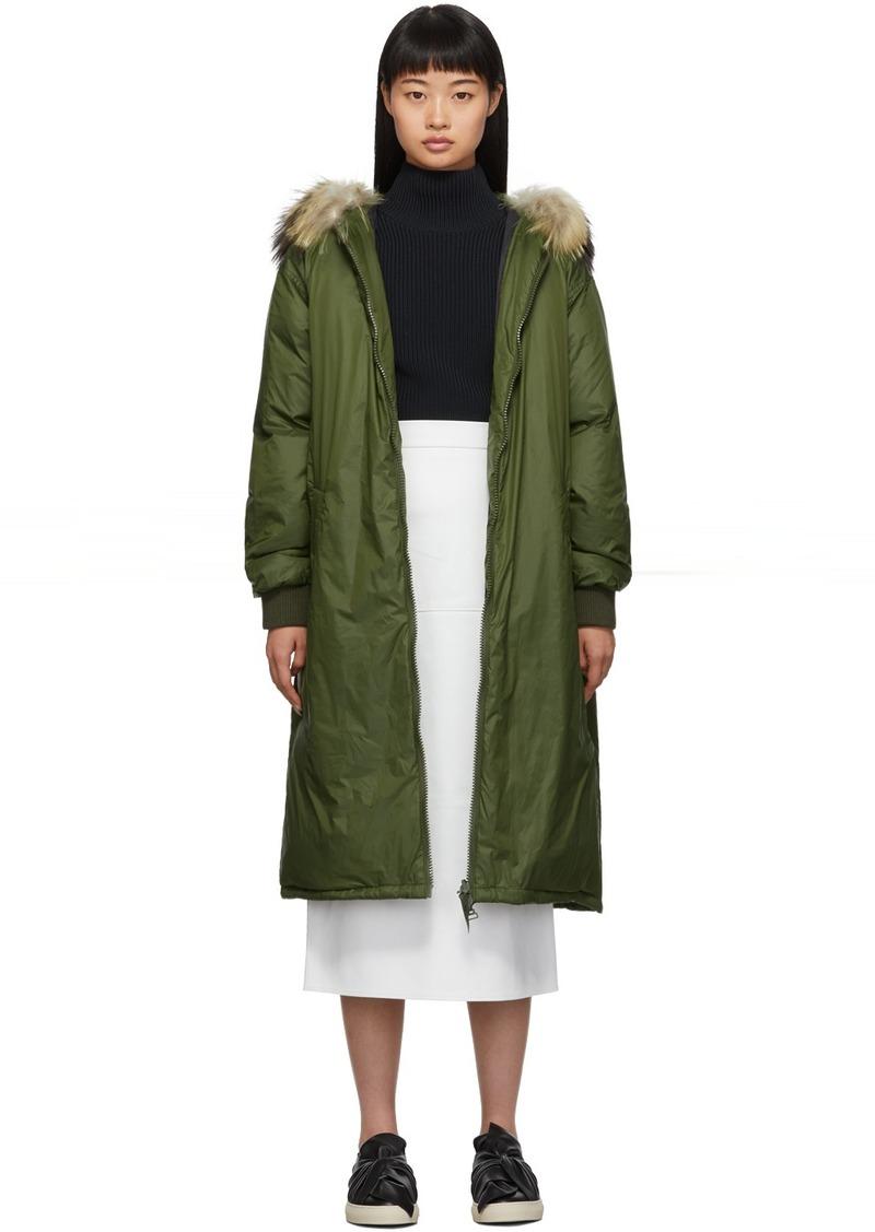Yves Salomon Green Down & Fur Hooded Coat