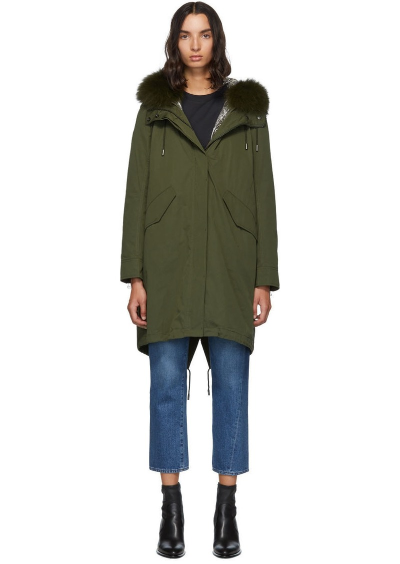 Yves Salomon Green Fur Reflective Lining Bachette Parka