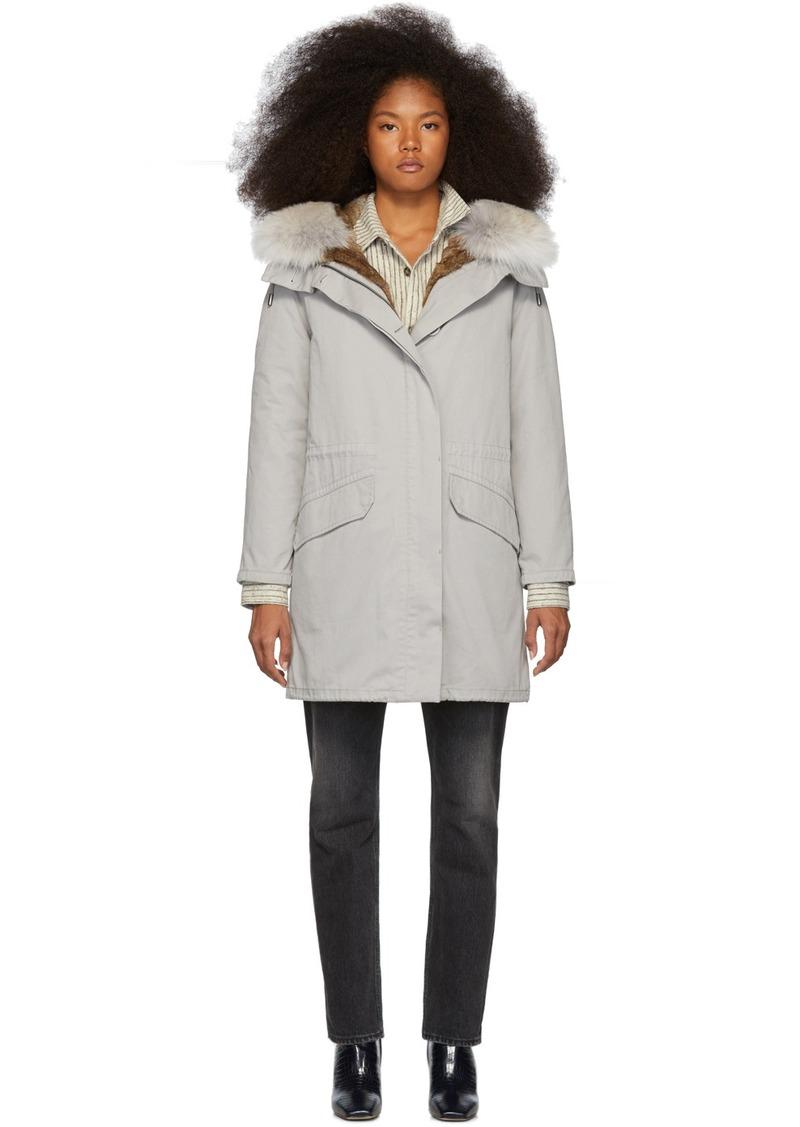 Yves Salomon Grey Down & Fur Cotton Parka