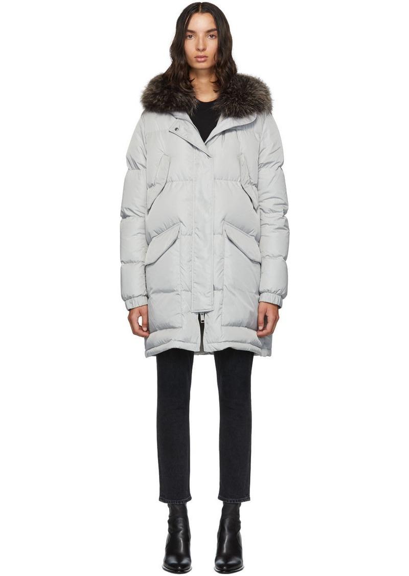 Yves Salomon Grey Down & Fur Doudoune Jacket