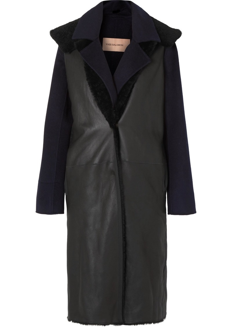 Yves Salomon Layered Cashmere And Wool-blend And Shearling Coat