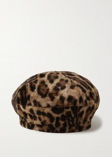 Yves Salomon Leopard-print Shearling Beret