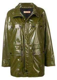 Yves Salomon long cargo leather jacket