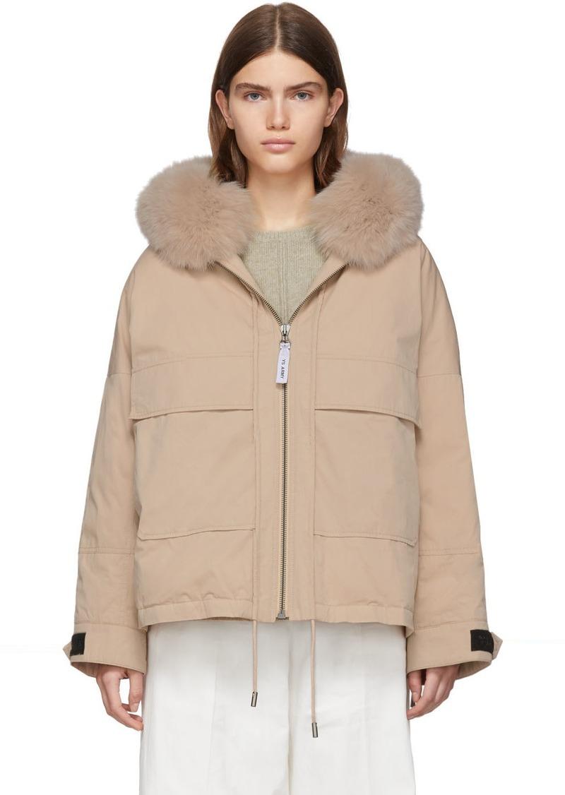 Yves Salomon Pink Down & Fur Bachette Jacket