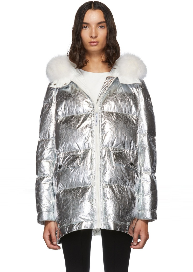 Yves Salomon Silver Down & Fur Reflective Doudoune Jacket