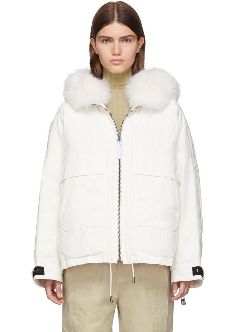 Yves Salomon White Down & Fur Bachette Jacket