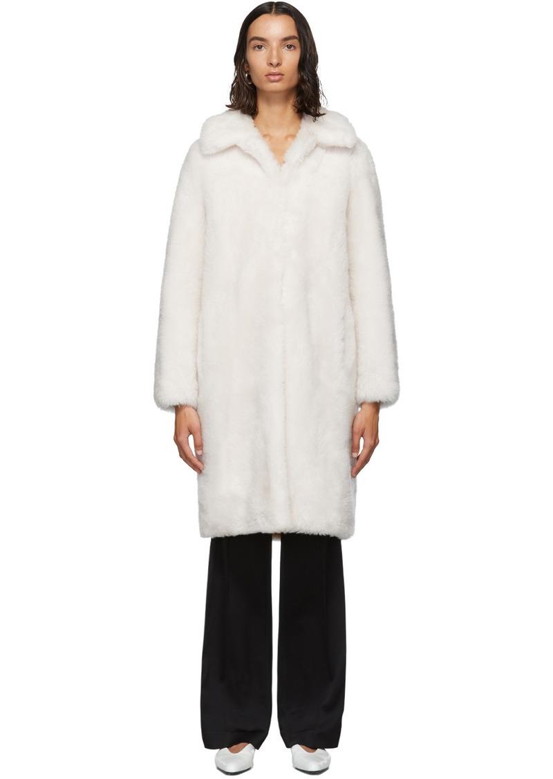 Yves Salomon White Lamb Wool Coat