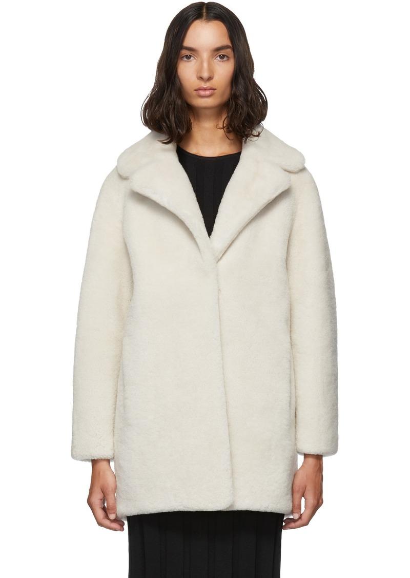 Yves Salomon White Merino Short Coat