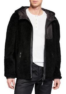 Yves Salomon Men's Colorblock Fleece Zip-Front Jacket