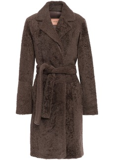 Yves Salomon Woman Belted Shearling Coat Taupe