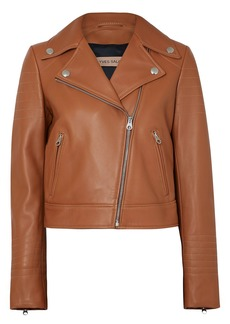 Yves Salomon Woman Quilted Leather Biker Jacket Light Brown