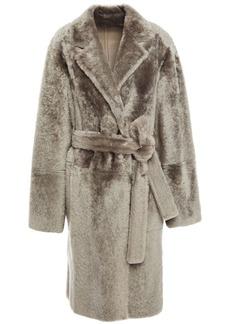 Yves Salomon Woman Reversible Leopard-print Shearling Coat Gray
