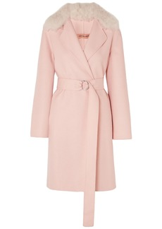 Yves Salomon Woman Shearling-trimmed Belted Wool And Cotton-blend Coat Baby Pink
