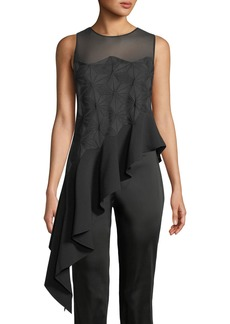 Zac Posen Adel Mesh-Yoke Sleeveless Asymmetric-Drape Blouse
