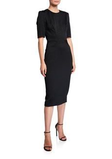 Zac Posen Animal-Jacquard Jewel Neck Dress