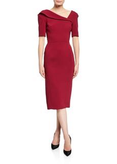 Zac Posen Asymmetric-Neck Sheath Dress