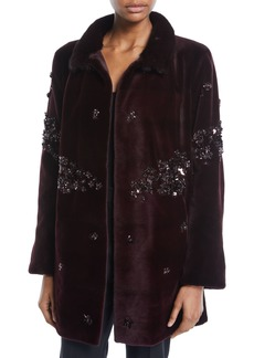 Zac Posen Beaded Mink Fur Stroller Coat