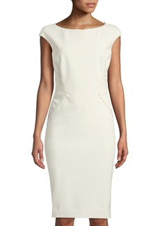 Zac Posen Beaded Split-Back Cap-Sleeve Cocktail Dress