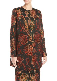 Zac Posen Button-Front Floral-Jacquard Collarless Long Jacket