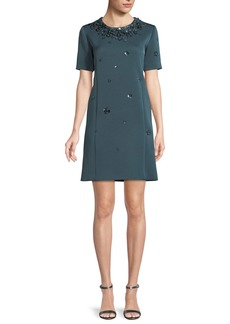 Zac Posen Cap-Sleeve A-Line Beaded-Embroidered Short Crepe Dress