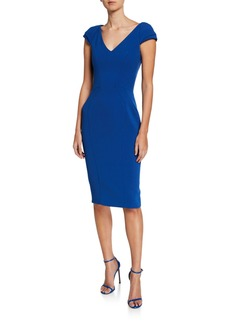 Zac Posen Cap-Sleeve Contoured Body-Con Dress