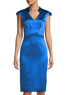 Zac Posen Cap-Sleeve Satin Cocktail Sheath Dress