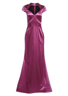 Zac Posen Cap Sleeve Stretch Satin Gown