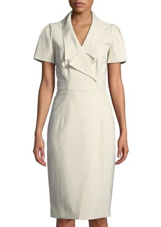 Zac Posen Collared Short-Sleeve Cocktail Dress w/ Asymmetrical Slit