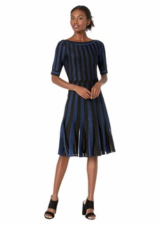 Zac Posen Contrast Cross Cable Knit Fit-and-Flare Dress