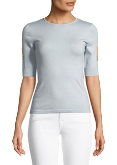 Zac Posen Crewneck Elbow-Sleeve Mimosa Knit Sweater