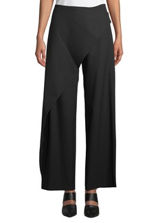 Zac Posen Draped-Front Wide-Leg Pants
