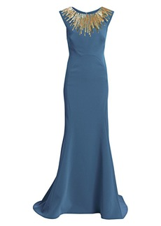 Zac Posen Embellished-Neckline Sleeveless Crepe Gown