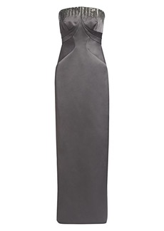 Zac Posen Embellished Strapless Doubleface Duchess Gown