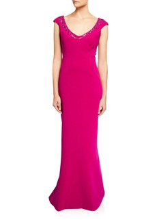Zac Posen Embroidered Bonded Crepe Gown