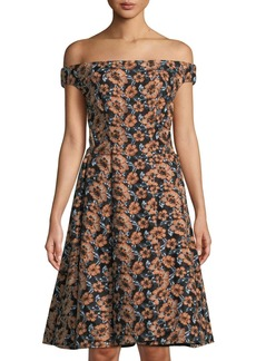 Zac Posen Embroidered Off-The-Shoulder Fit-&-Flare Dress