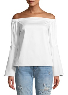 Zac Posen Felicia Off-The-Shoulder Bell-Sleeve Blouse