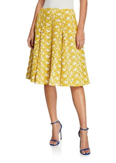 Zac Posen Floral Crochet Flared Skirt