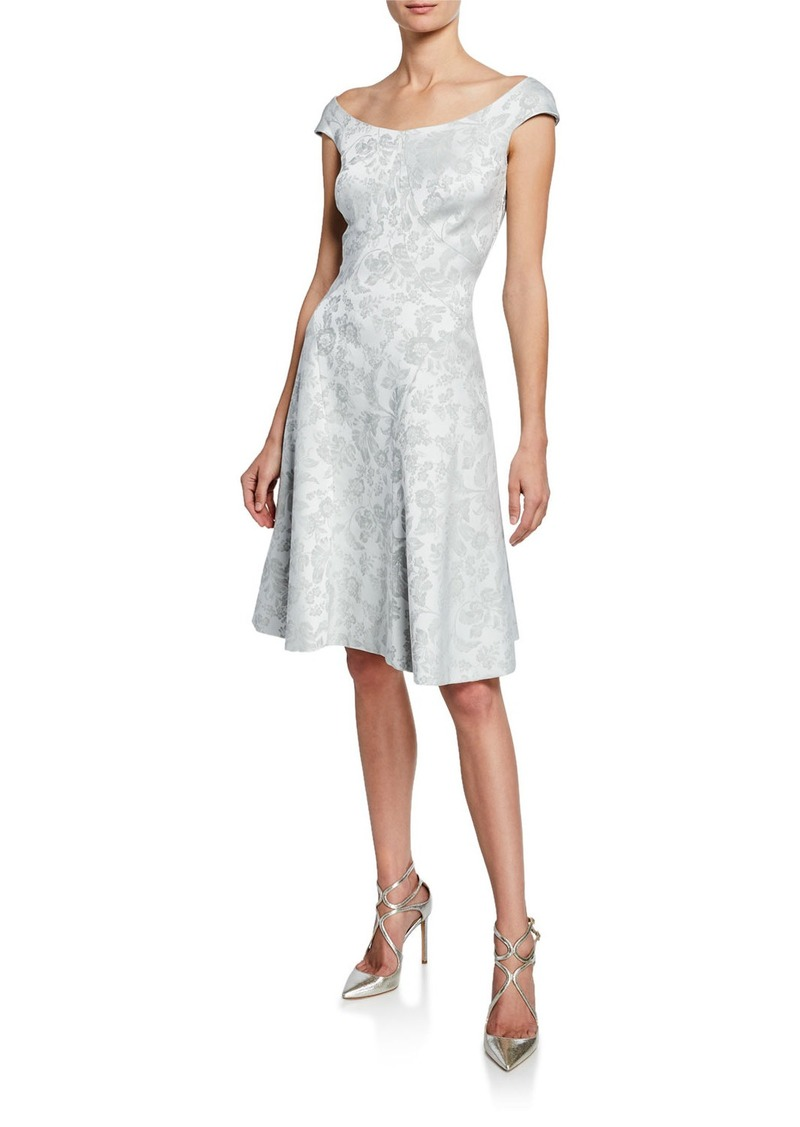 Zac Posen Floral Jacquard Fit-and-Flare Dress