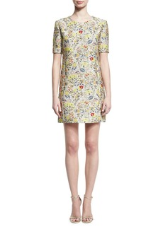 Zac Posen Floral Jacquard Short-Sleeve Cocktail Shift Dress