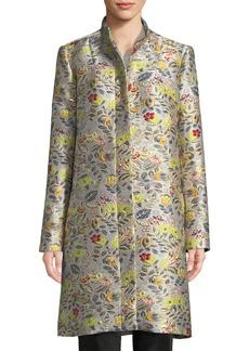 Zac Posen Floral-Jacquard Topper Coat