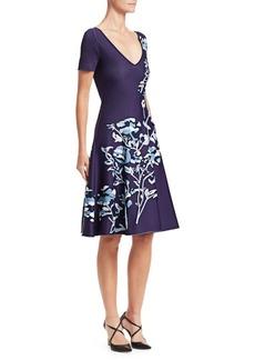 Zac Posen Floral Jacquard V-Neck Knit Dress