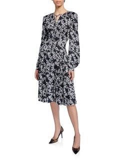 Zac Posen Floral-Print Tie-Neck Blouson-Sleeve Silk Twill Dress