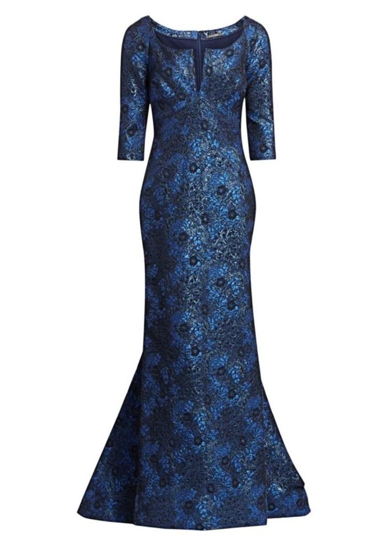 Zac Posen Jacquard Metallic Gown