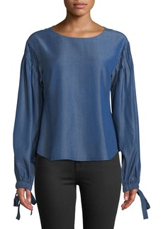 Zac Posen Jennie Tie-Sleeve Button-Back Chambray Blouse